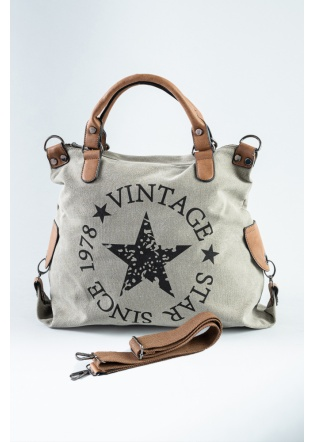 BOLSO VINTAGE STAR GRIS