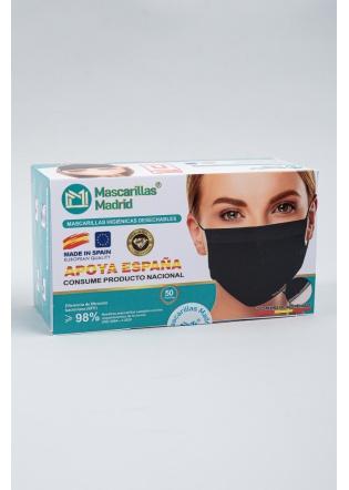 Mascarilla higienica Negra desechable caja 50 uni
