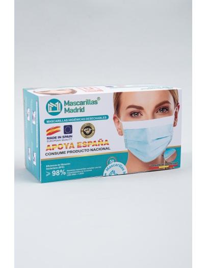 Mascarilla higienica Azul desechable      Caja de  50 Unidades